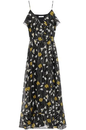 JOIE Kenny ruffled metallic floral-print silk-blend georgette maxi dress