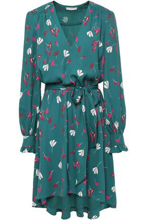 JOIE Asymmetric ruffled floral-print crepe de chine dress