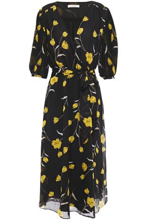 JOIE Ervina  wrap-effect floral-print silk-chiffon midi dress
