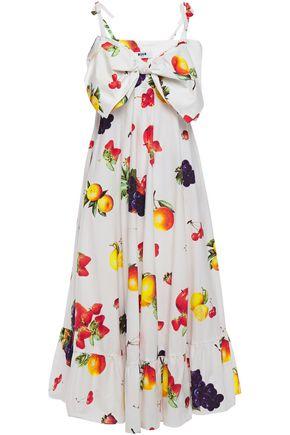 MSGM Flared bow-embellished printed cotton-poplin midi dress