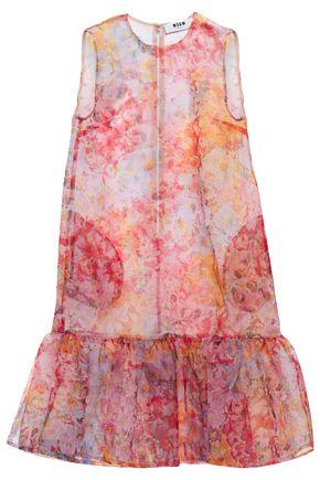 MSGM Gathered floral-print woven mini dress