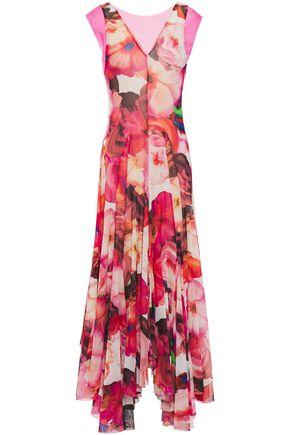 MSGM Layered floral-print stretch-mesh midi dress