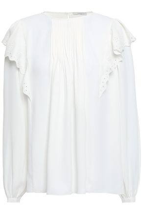 JOIE Broderie anglaise-trimmed pleated crepe de chine blouse