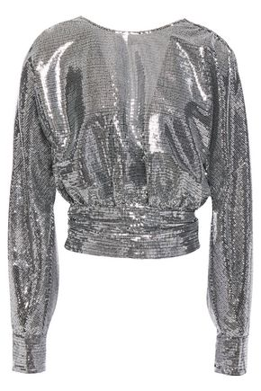 MSGM Open-back gathered bow-detailed sequined tulle blouse