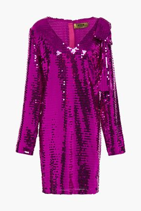 MSGM Bow-embellished sequined georgette mini dress