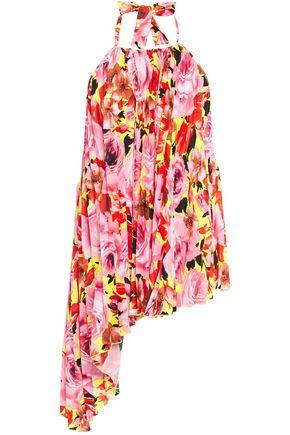 MSGM Asymmetric pleated floral-print crepe de chine halterneck blouse