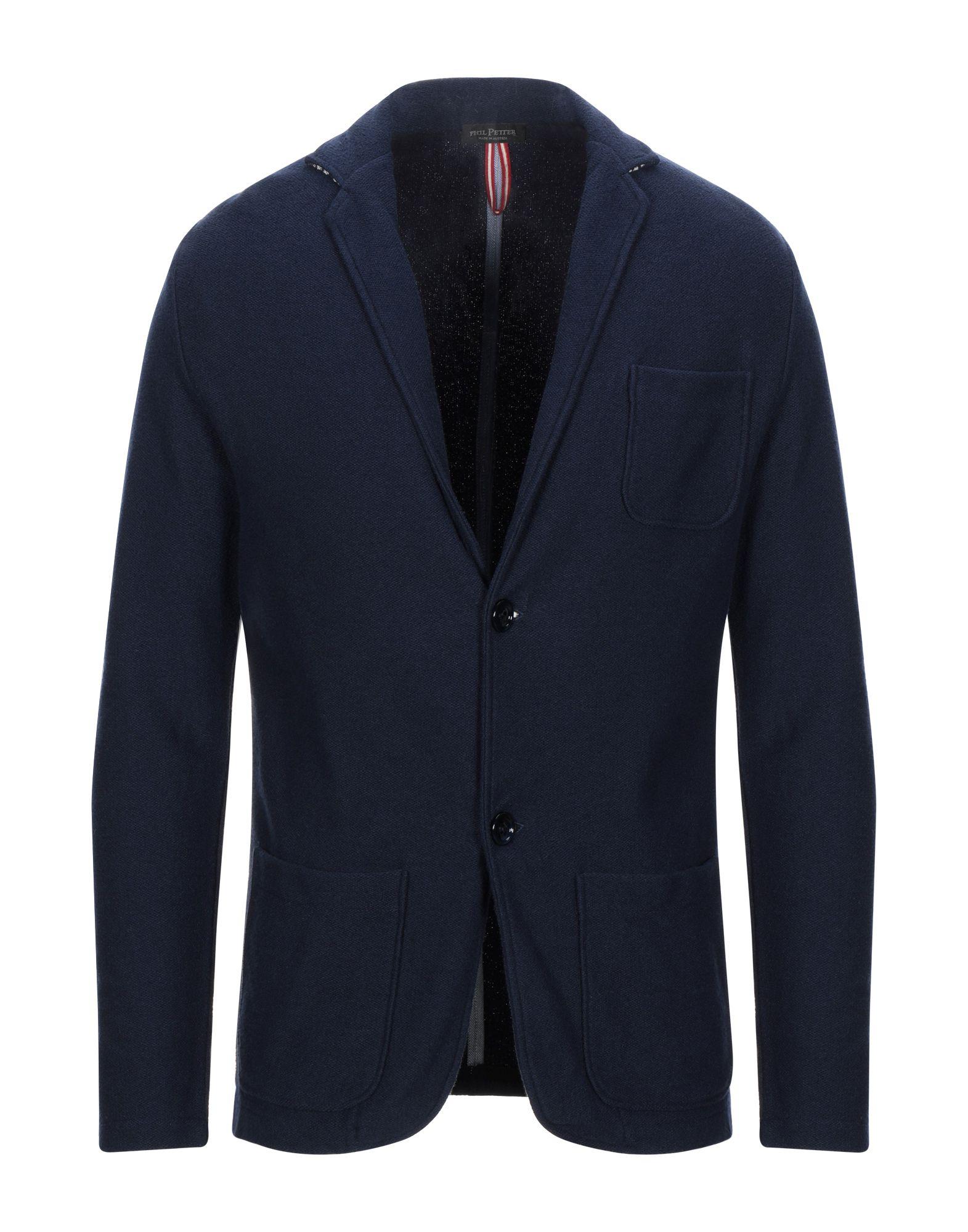 《セール開催中》PHIL PETTER メンズ テーラードジャケット ブルー S コットン 75% / ナイロン 25%