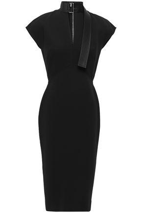 VICTORIA BECKHAM Cutout silk satin-trimmed buckle-detailed crepe dress