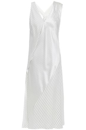 VICTORIA BECKHAM Draped knotted pinstriped silk crepe de chine midi dress