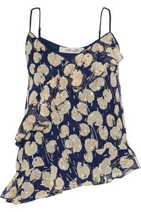 """DIANE VON FURSTENBERG قميص تحتي """"لارا"""" غير متماثل من مزيج الحرير مخيط بأسلوب فيل كوبيه لون ميتاليك ومطبع برسومات"""