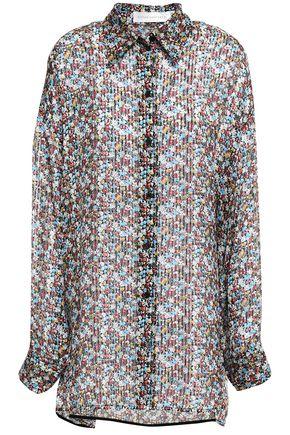 VICTORIA BECKHAM Oversized metallic-trimmed floral-print silk-blend mousseline blouse