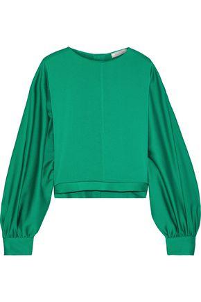 NINA RICCI Gathered hammered-satin blouse