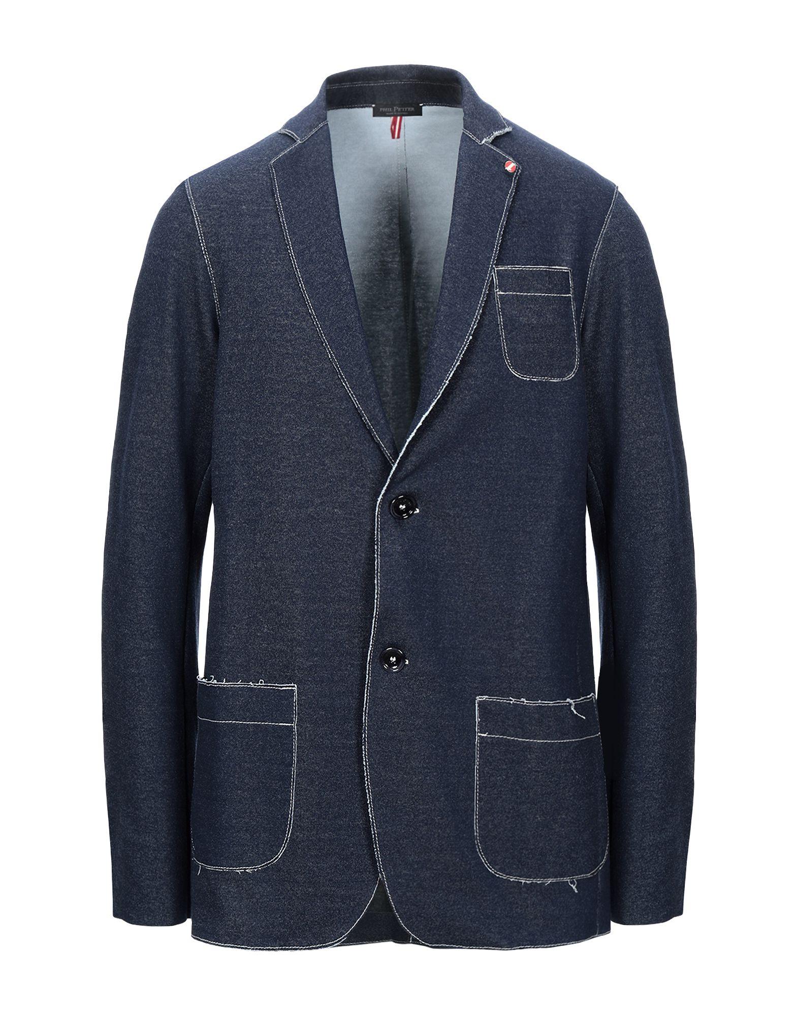 《セール開催中》PHIL PETTER メンズ テーラードジャケット ブルーグレー XXL コットン 90% / ポリウレタン 10%