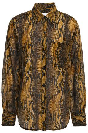 CURRENT/ELLIOTT The Neal snake-print cotton and silk-blend shirt
