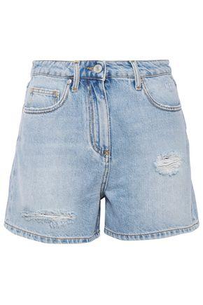 MSGM Printed distressed denim shorts
