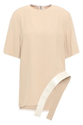 VICTORIA BECKHAM Asymmetric faux leather-trimmed twill top