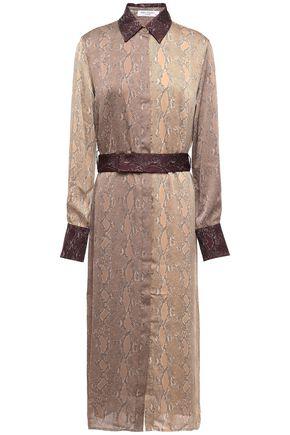 EQUIPMENT Belted paneled snake-print satin midi dress