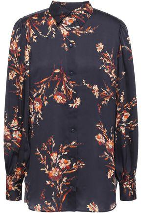 EQUIPMENT Danton gathered floral-print washed-satin shirt
