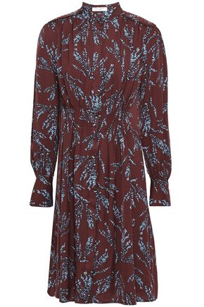 EQUIPMENT Ouesse pintucked floral-print satin-jacquard dress