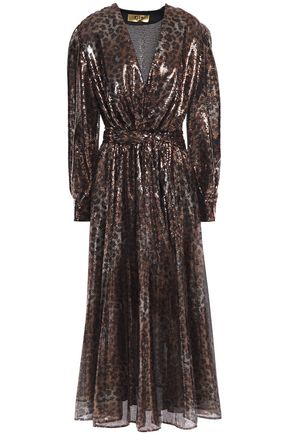 MSGM Gathered sequined leopard-print tulle midi dress
