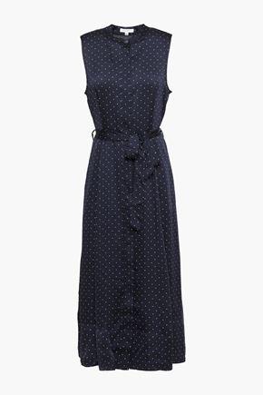 EQUIPMENT Belted polka-dot satin midi dress