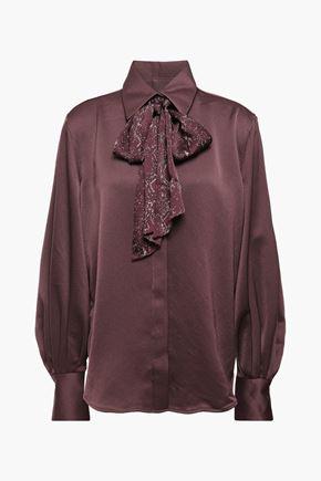 EQUIPMENT Pussy-bow printed satin-crepe shirt