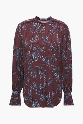 EQUIPMENT Garion gathered floral-print satin-jacquard shirt