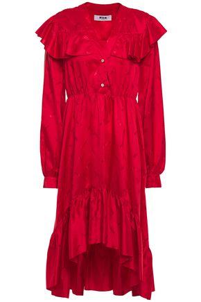 MSGM Asymmetric ruffle-trimmed gathered jacquard mini dress