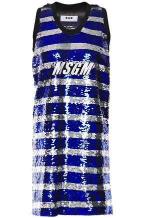 MSGM Appliquéd sequined striped tulle mini dress