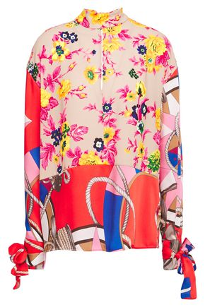 MSGM Twill-paneled bow-detailed floral-print crepe blouse