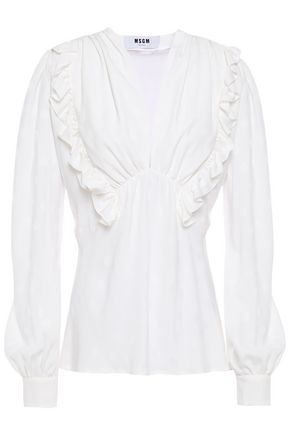 MSGM Ruffle-trimmed polka-dot jacquard blouse
