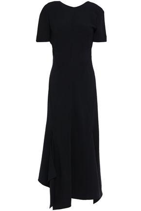 VICTORIA BECKHAM فستان متوسط الطول وغير متماثل من الكريب