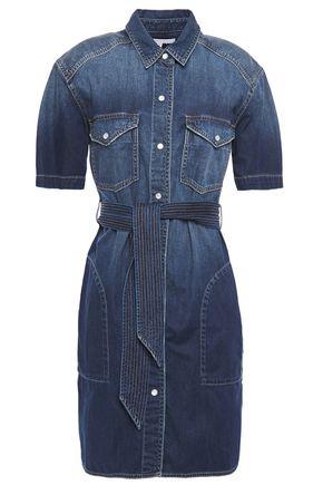 CURRENT/ELLIOTT Belted denim mini shirt dress
