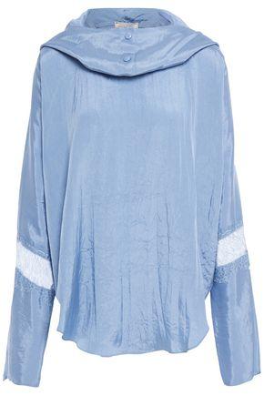 NINA RICCI Lace-paneled crinkled-satin hooded top
