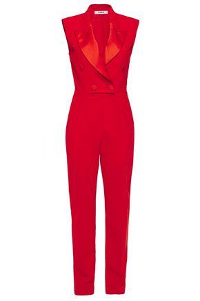 MSGM Satin-trimmed crepe jumpsuit