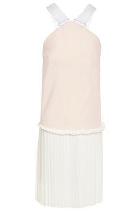 VICTORIA BECKHAM فستان من قماش كادي مزين بقماش غروغران مع أجزاء من الكريب وطيات