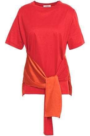 NINA RICCI タイフロント サテンパネル コットンジャージー Tシャツ