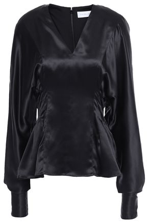 VICTORIA BECKHAM Pleated silk-satin top