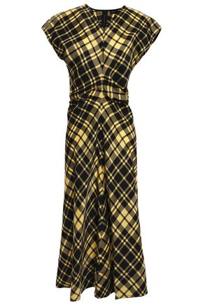 PROENZA SCHOULER Ruched checked crinkled-twill dress