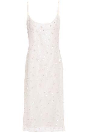 MANSUR GAVRIEL レイヤード 装飾付き シルクオーガンザ ミディスリップドレス