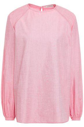 NINA RICCI Gathered cotton-chambray blouse