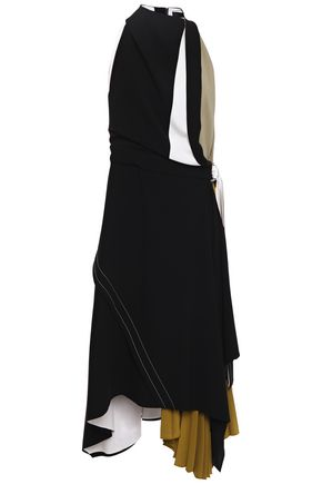 PROENZA SCHOULER Asymmetric pleated color-block crepe dress