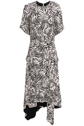 PROENZA SCHOULER Asymmetric wrap-effect zebra-print crepe de chine dress