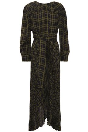 PROENZA SCHOULER Belted pleated checked twill midi dress
