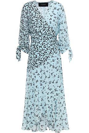 PAPER London Printed crepe de chine midi wrap dress