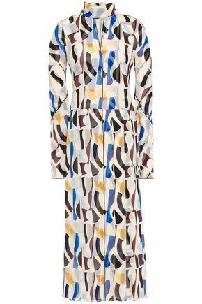 VICTORIA BECKHAM فستان متوسط الطول من قماش كريب دي شين المطبع برسومات مع أجزاء مقصوصة