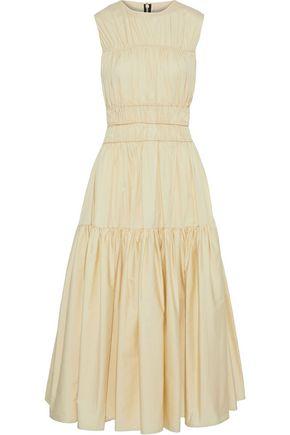 ROKSANDA Gathered cotton-poplin midi dress