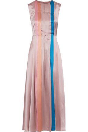 ROKSANDA Tiera pleated color-block silk-satin midi dress