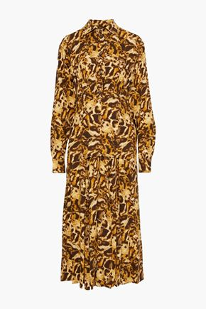 VICTORIA BECKHAM Layered leopard-print crepe de chine midi shirt dress