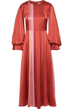 """ROKSANDA فستان متوسط الطول """"مينا"""" من الساتان الحريري المطبع برسومات مع طيات"""
